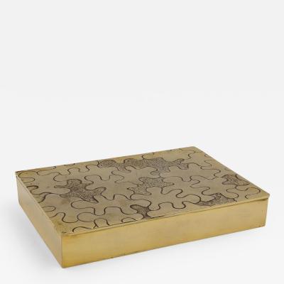 Line Vautrin Vintage Line Vautrin Large Gilded Bronze Box Puzzle