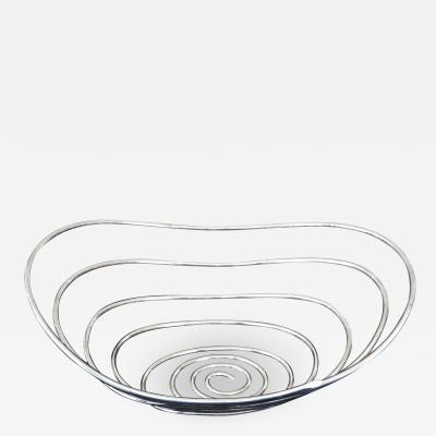 Lino Sabattini Lino Sabattini Cesto Silverplate Bowl Italian Sculptural Sabattini Argenteria