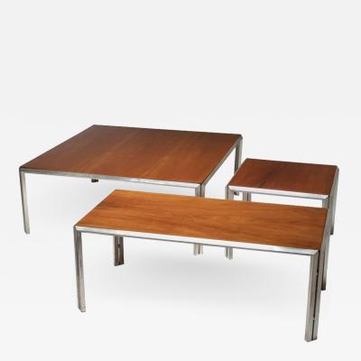 Lino Sabattini Set of Three Silver Plated Low Tables by Lino Sabattini