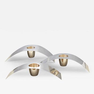 Lino Sabattini Three Graduated Candleholders or Vases by Lino Sabattini