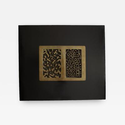 Lino Tine Abstract Bronze Wall Sculpture on Black Wood Frame