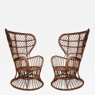Lio Carminati A pair of bamboo armchairs by Lio Carminati Milan 1949