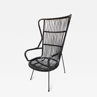 Lio Carminati Italian Caned Armchair Attributed to Lio Carminati 1950s