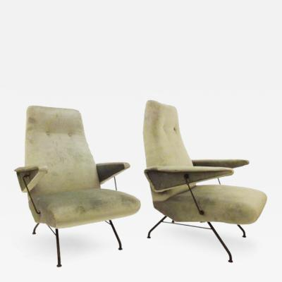 Lio Carminati Pair of Mid Century Lounge Chairs by Lio Carminati
