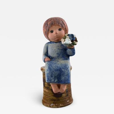 Lisa Larson Lisa Larson for Gustavsberg Rare stoneware figure Girl with flowers