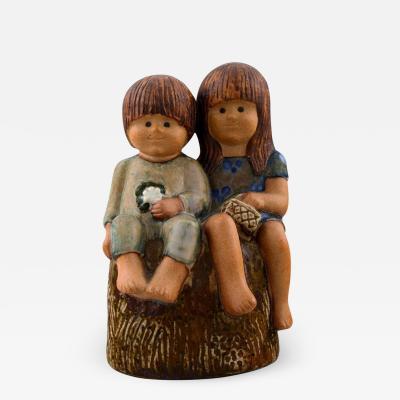Lisa Larson RARE FIGURE Lisa Larson Siblings glazed pottery