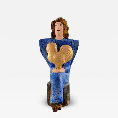 Lisa Larson Very rare Lisa Larson unique figure of sitting woman in blue with golden rooster