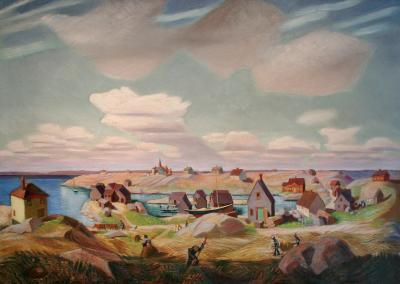 Lisa Whitney LAND SEA AND SKY ca 1930 Booth Bay Harbor Maine by LISA WHITNEY