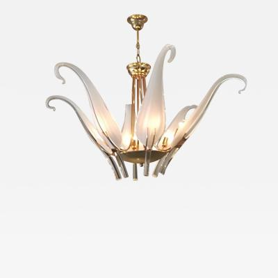 Livio Seguso Iris Leaves Chandelier in Murano Glass and brass by Seguso