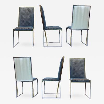 Liwans 1970s Italian Six Brass and Chrome Modern Chairs Blue and White Fabric