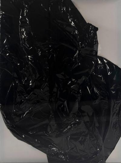 Liz Marsh Black Crush Mylar on Canvas in Lucite Box Frame