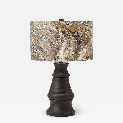 Liz Marsh Liz Marsh Paris Now Black Stoneware Lamp with Marbleized Paper Shade