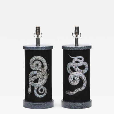 Liz Marsh Pair of Liz Marsh Eden Glass Lamps Serpents Noir