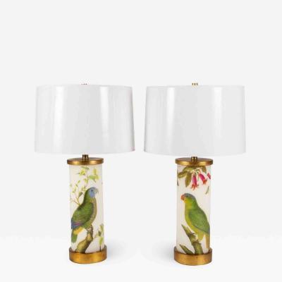 Liz Marsh Pair of Liz Marsh Green Parrots Trumpet Flower Eden Lamps with Paper Shades