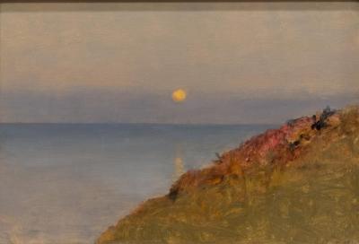 Lockwood De Forest Moonset Off Monterey Coast