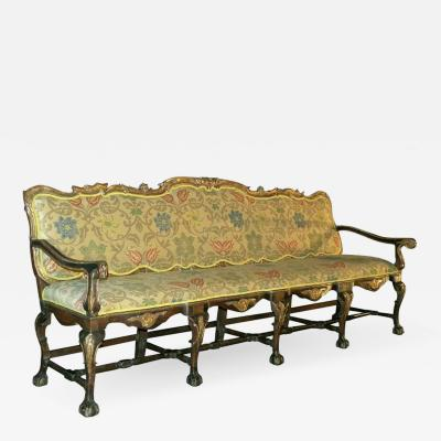Long 18th Century Carved and Parcel Gilt Spanish Portuguese Settee