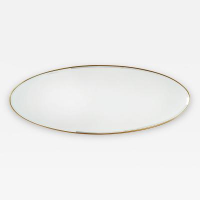 Long Horizontal Oval Brass Mirror Italy 1950s