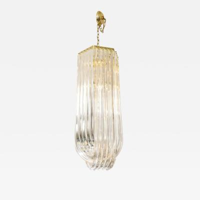 Long Mid Century Curved Lucite Ribbon Chandelier in Brass
