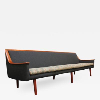 Long Norwegian Modern Exposed Teak Sofa with Original Upholstery