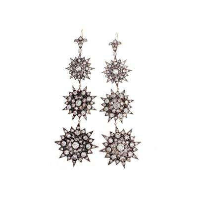 Long Victorian Star Diamond Gold Silver Earrings