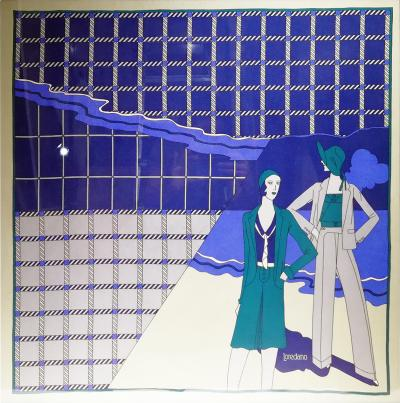 Loredano Rosin Loredano Framed Vintage Silk Scarf circa 1980