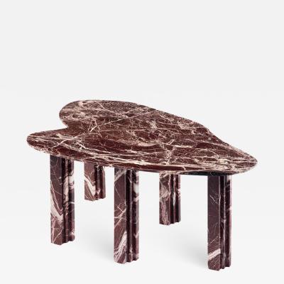 Lorenzo Bini Sculptural Red Marble Coffee Table Signed by Lorenzo Bini