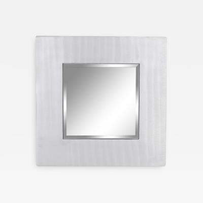 Lorenzo Burchiellaro Cast aluminum square mirror by Lorenzo Burchiellaro 1970s