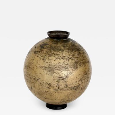 Lorenzo Burchiellaro LORENZO BURCHIELLARO EMBOSSED INCISED CAST AND GOLD PATINATED VASE