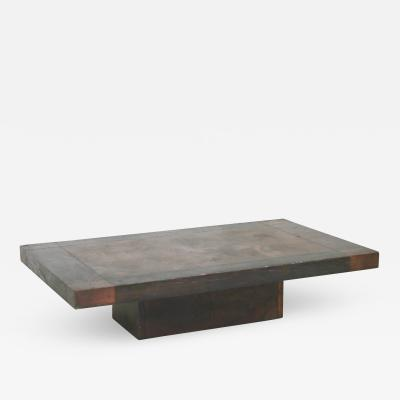 Lorenzo Burchiellaro Lorenzo Burchiellaro Brutalist Coffee table in wood and copper signed 1970s