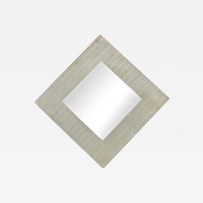 Lorenzo Burchiellaro Modern Etched Aluminum Mirror by Lorenzo Burchiellaro Signed Italy 1970s