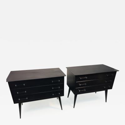 Lorenzo Renzo Rutili High Style Pair of Renzo Rutili Black Lacquer and Chrome Nightstands