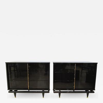 Lorenzo Renzo Rutili Pair Black Lacquered and Brass Three Drawer Dressers