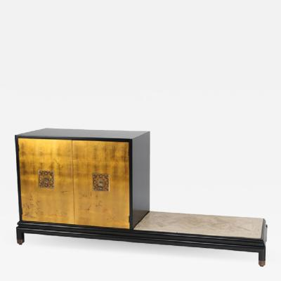 Lorenzo Renzo Rutili Renzo Rutili Cabinet with Bench in Gilt Black Lacquer and Travertine