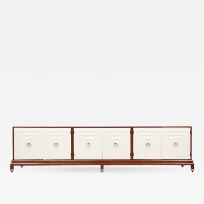 Lorenzo Renzo Rutili Renzo Rutili Two Tone Lacquered Walnut Credenza for Johnson Furniture