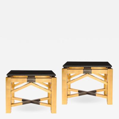 Lorin Marsh Pair of Art Deco Style Roark Gilded End Tables w Granite Tops by Lorin Marsh