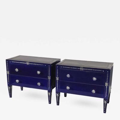 Lorin Marsh Pair of Lapis Blue Venetian Mirrored Night Stands by Lorin Marsh
