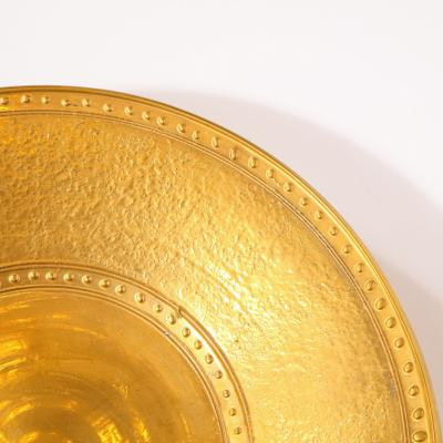 Lorin Marsh Pair of Modernist 24kt Gold Leaf Center Plates Signed Rondier by Lorin Marsh