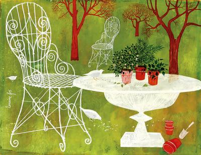 Lorraine Mrs B D Andrea Fox Garden Scene with red trees birds and flower pots