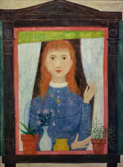Lorraine Mrs B D Andrea Fox Girl in Window with plants