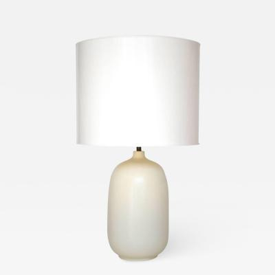 Lotte Gunnar Bostlund Mid Century White Glazed Ovoid Form Table Lamp