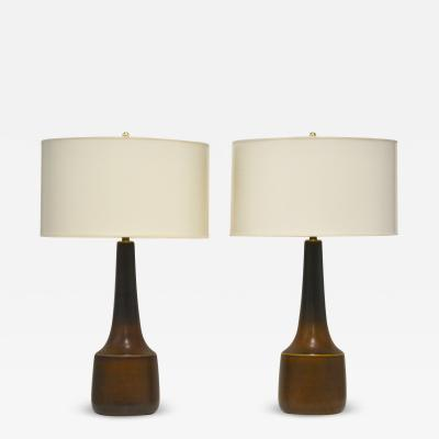 Lotte Gunnar Bostlund Pair of Mid Century Ceramic Jar Form Table Lamps