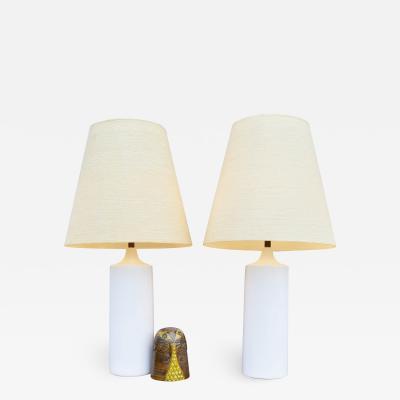 Lotte Gunnar Bostlund Pair of White Ceramic Cylinder Lamps w Orig Shades by Lotte Bostlund
