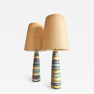 Lotte Gunnar Bostlund Stellar Pair of Danish Modern Lotte Bostlund Signed Hand Painted Table Lamps