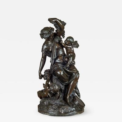 Louis Auguste Moreau A Fine Quality Patinated Bronze Sculpture of Grecian Style Female with Putti