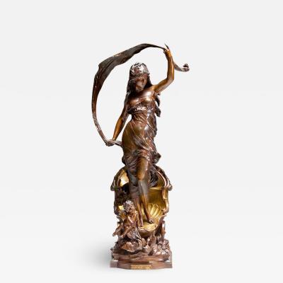 Louis Auguste Moreau The Chariot of Aurora Le Char D Aurore Patinated Bronze Sculpture