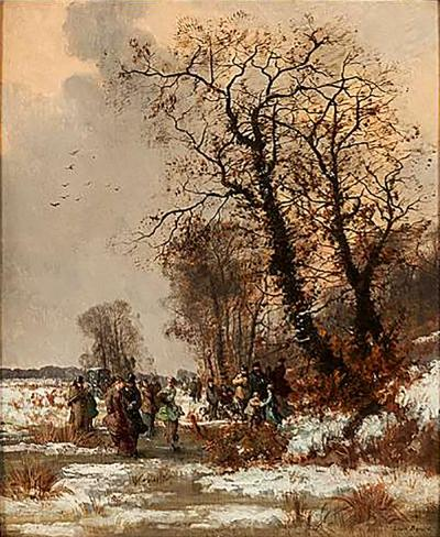 Louis Beroud Oil Painting of The Skating Party by Louis B roud