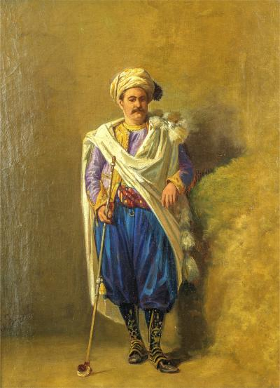 Louis Charles Bombled An Ottoman Holding a Tophane Pipe
