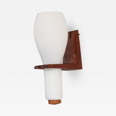 Louis Christiaan Kalff Single Scandinavian teak and white opaline sconce 1960s