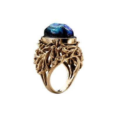 Louis Comfort Tiffany Arts Crafts Ring with Tiffany Favrile Glass