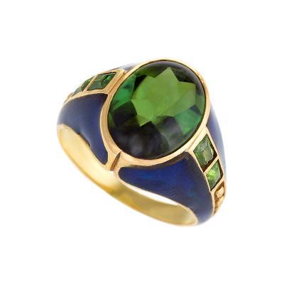 Louis Comfort Tiffany Louis Comfort Tiffany Art Nouveau Peridot Enamel and Gold Ring